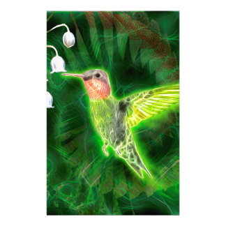 Hummingbird and Lily Fractal Personalized Stationery