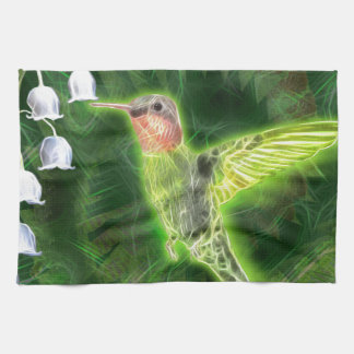 Hummingbird and Lily Fractal Tea Towel