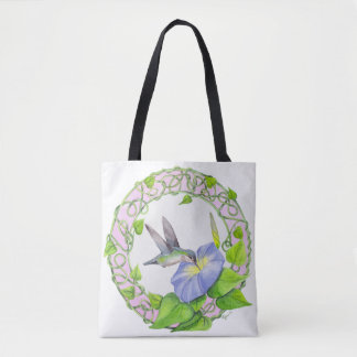 Hummingbird and Morning Glory Watercolor Painting Tote Bag