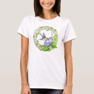 Hummingbird and Morning Glory Wreath T-Shirt