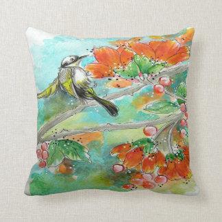 Hummingbird and Orange Blossoms Pillow