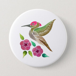 Hummingbird and Petunia Abstract Painting 7.5 Cm Round Badge
