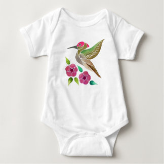Hummingbird and Petunia Abstract Painting Baby Bodysuit