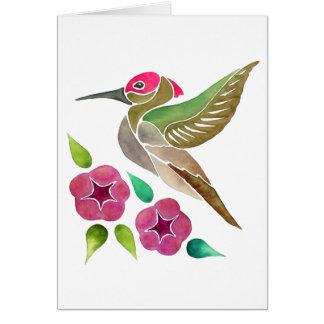 Hummingbird and Petunia Abstract Painting Card