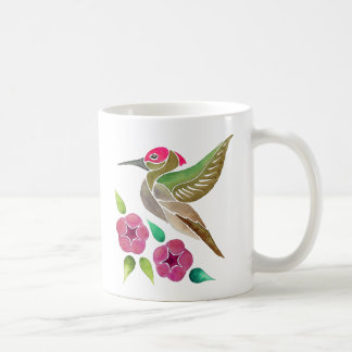 Hummingbird and Petunia Abstract Painting Coffee Mug