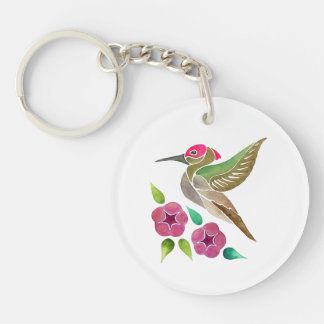 Hummingbird and Petunia Abstract Painting Key Ring