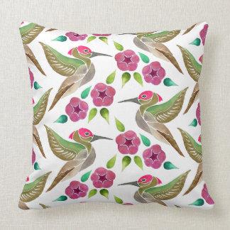 Hummingbird and Petunia Abstract Painting Pattern Cushion