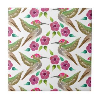 Hummingbird and Petunia Abstract Painting Pattern Small Square Tile