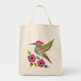 Hummingbird and Petunia Abstract Painting Tote Bag