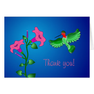 Hummingbird and Petunias Thank You Card