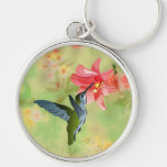 Hummingbird and Pink Lily on Floral Pattern Keychain