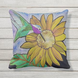 Hummingbird and Sunflower Pillow
