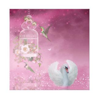 Hummingbird and Swan Canvas Print