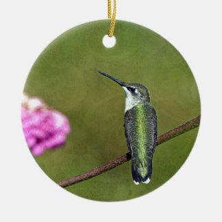 Hummingbird and Zinnia Round Ceramic Decoration