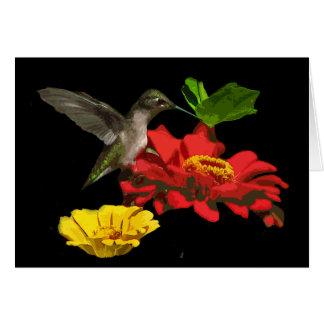 Hummingbird and Zinnias Birthday Card
