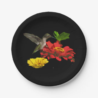 Hummingbird and Zinnias Paper Plates