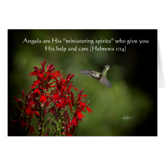 Hummingbird Angels Greeting Card with Bible Verse