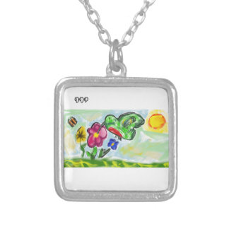 hummingbird art two silver plated necklace