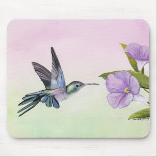 Hummingbird at Morning Glory Art Mouse pad