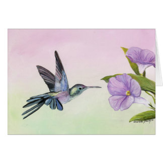 Hummingbird at Morning Glory Note Card