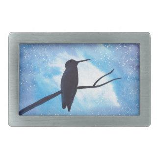 Hummingbird At Night Rectangular Belt Buckle