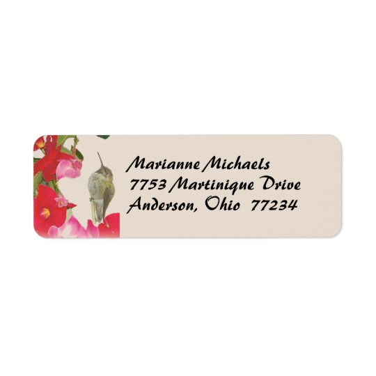 Hummingbird Avery Label Return Address Label