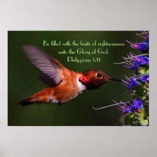 Hummingbird bible verse Philippians 1:11 Poster