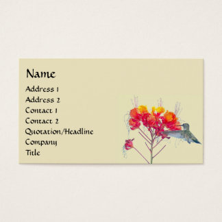 Hummingbird Bird Animal Wildlife Floral Business Card