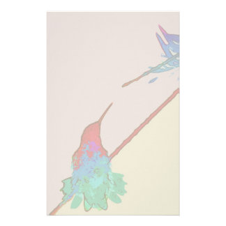 Hummingbird Bird Animal Wildlife Floral Stationery Design