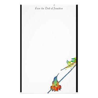 Hummingbird Bird Animal Wildlife Floral Stationery Paper