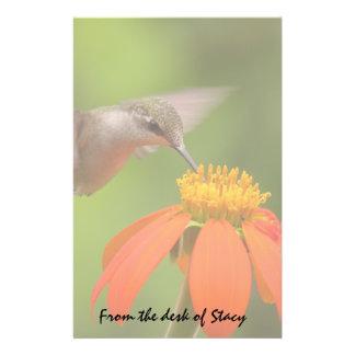 Hummingbird Bird Animal Wildlife Floral Sunflower Personalized Stationery