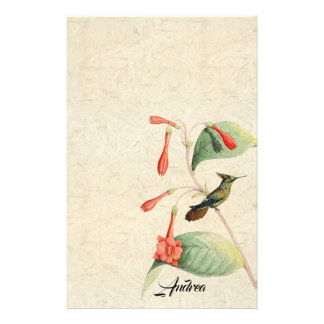 Hummingbird Bird Flower Wildlife Stationery