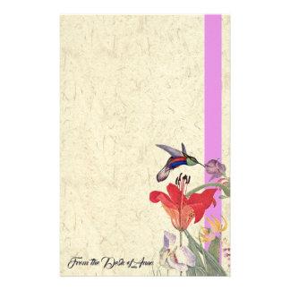 Hummingbird Bird Flowers Personalized Stationery