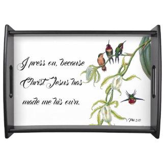 Hummingbird Bird Jesus Bible Press On Serving Tray