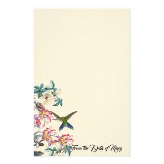 Hummingbird Bird Tropical Flowers Stationery