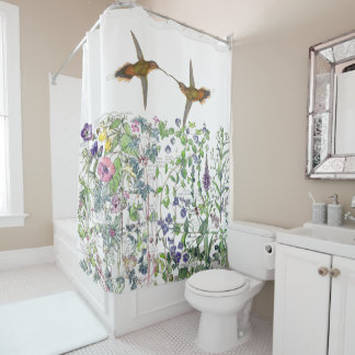 Hummingbird Bird Wildflower Flowers Shower Curtain