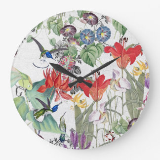 Hummingbird Bird Wildlife Flower Garden Wall Clock