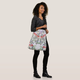 Hummingbird Birds Animal Flowers Shoulder Tote Bag