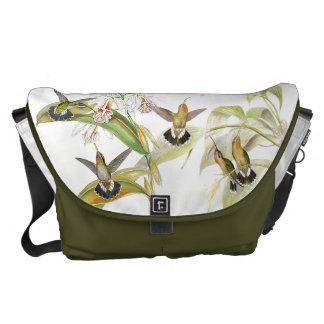 Hummingbird Birds Animals Floral Wildlife Flowers Messenger Bag