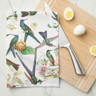 Hummingbird Birds Animals Flowers Kitchen Towel