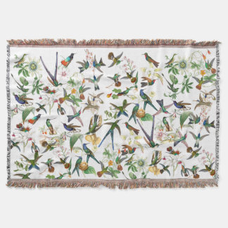 Hummingbird Birds Animals Flowers Throw Blanket