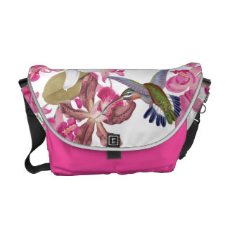 Hummingbird Birds Animals Orchid Flower Floral Messenger Bag