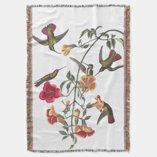 Hummingbird Birds Audubon Flowers Throw Blanket