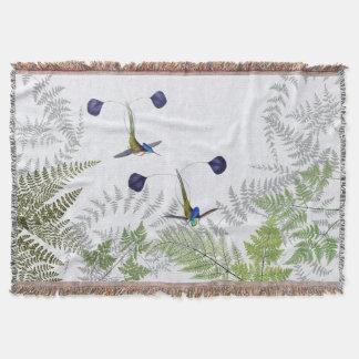 Hummingbird Birds Ferns Animals Throw Blanket