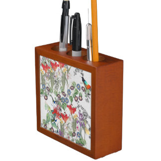 Hummingbird Birds Flower Garden Desk Organizer