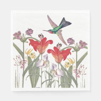 Hummingbird Birds Flower Garden Paper Napkins