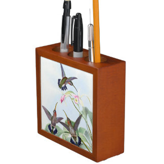 Hummingbird Birds Flowers Animals Desk Organizer