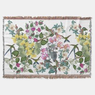 Hummingbird Birds Flowers Animals Throw Blanket