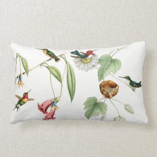 Hummingbird Birds Flowers Nest Animal Throw Pillow