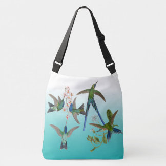 Hummingbird Birds Flowers Ombre Shoulder Tote Bag